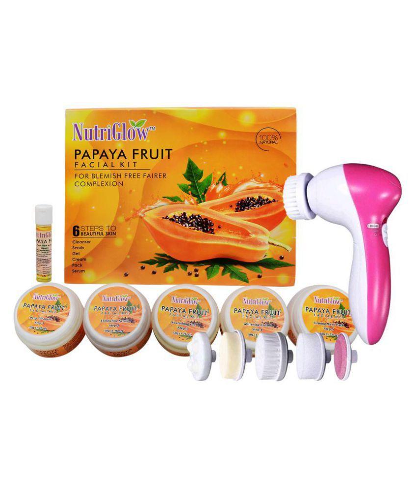 Nutriglow Papaya Fruit Facial Kit (260gm)+ 5 in 1 Face Rotating Massager Facial Kit g Pack of 2