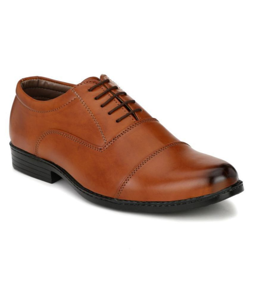 John Karsun Oxfords Artificial Leather Tan Formal Shoes
