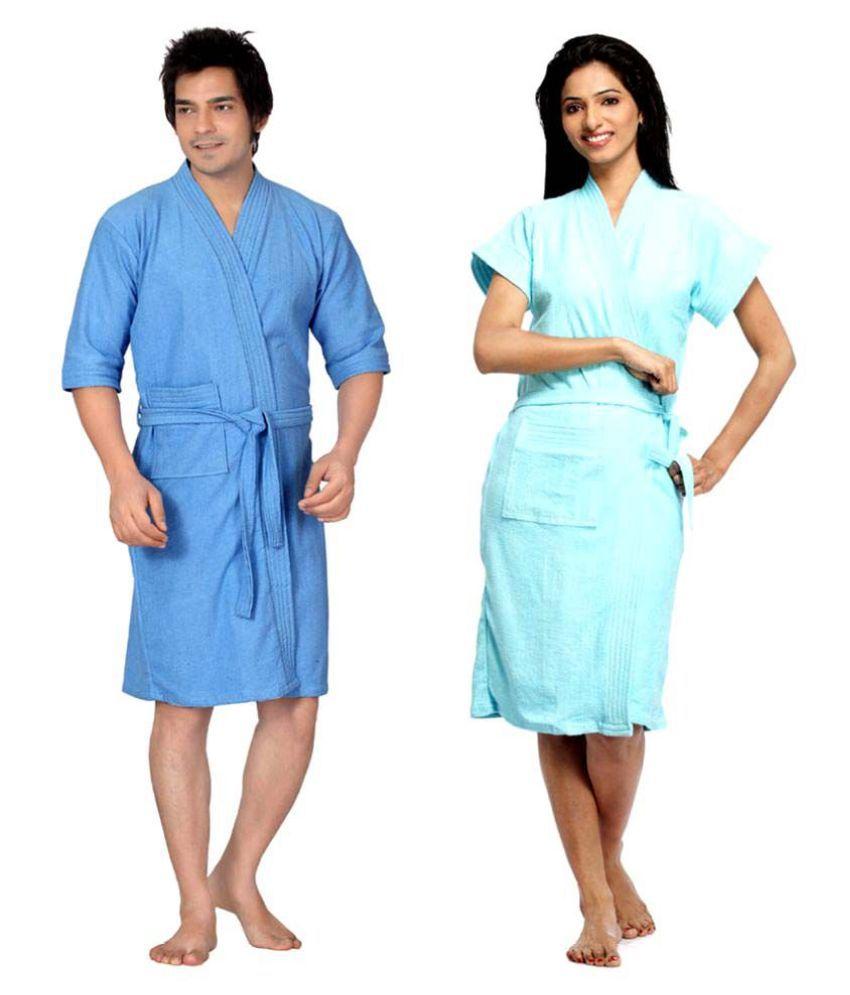 superior Set of 2 Free Size Bathrobe Blue