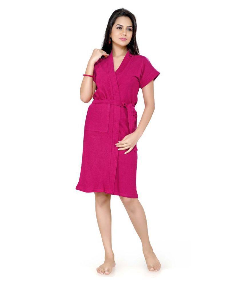 superior Single Free Size Bathrobe Pink