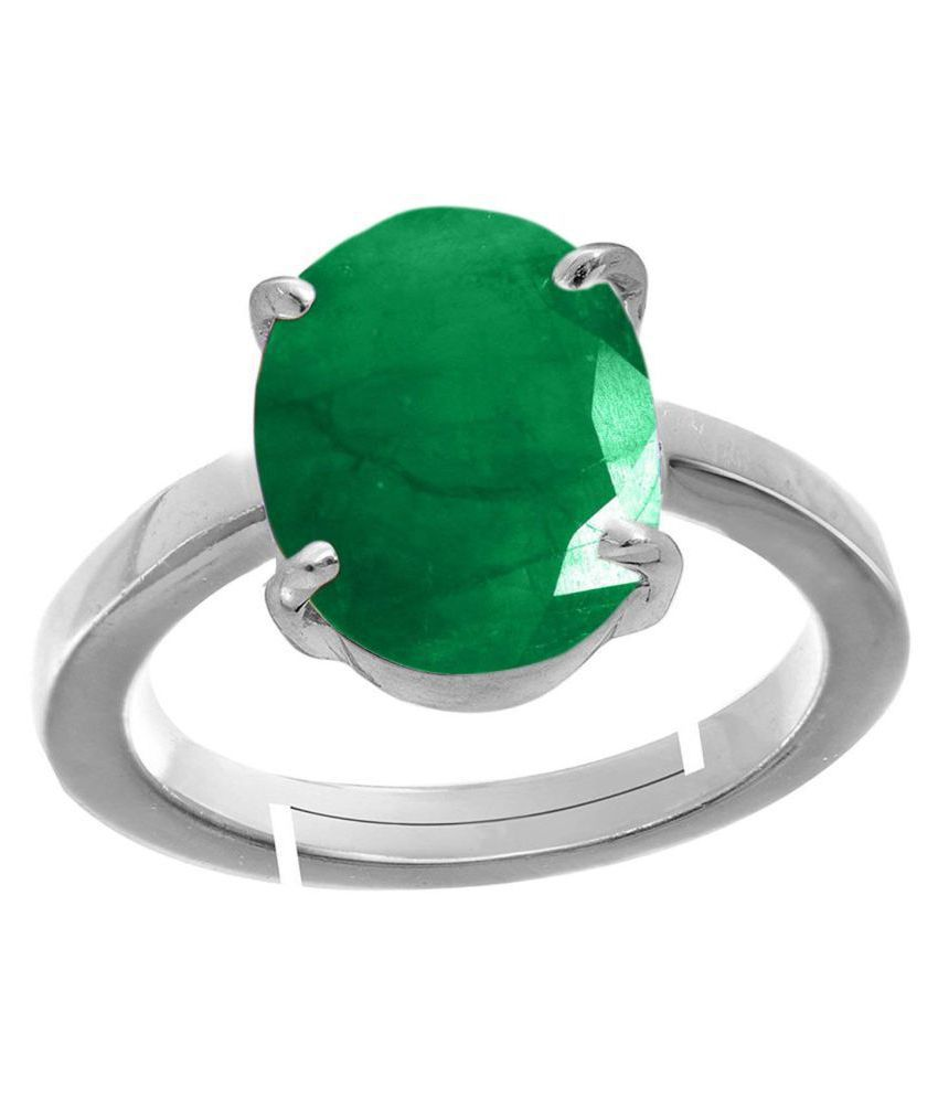 A1 Gems 7.25 Ratti 6.42 Carat A+ Quality Certified Emerald Panna Gemstone Ring Adjustable