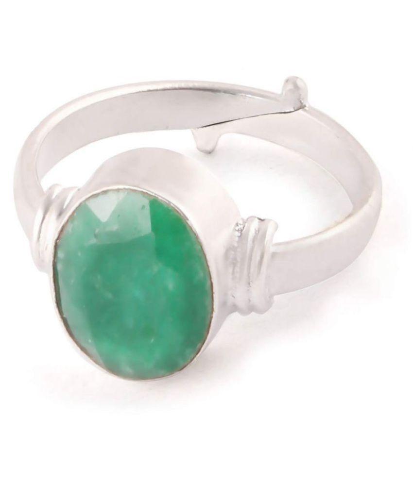 A1 Gems 7.25 Ratti 6.42 Carat A+ Quality Certified Emerald Panna Gemstone Ring Adjustable