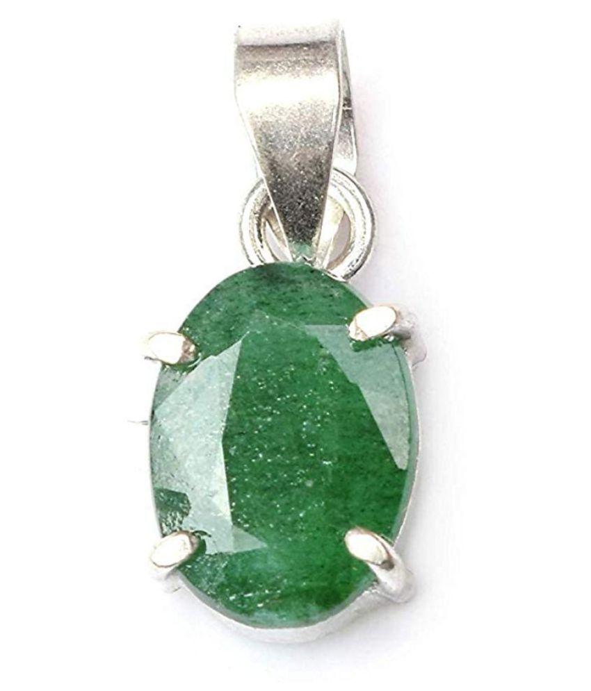 A1 Gems 7.25 Ratti 6.42 Carat A+ Quality Certified Emerald Panna Gemstone Pendant