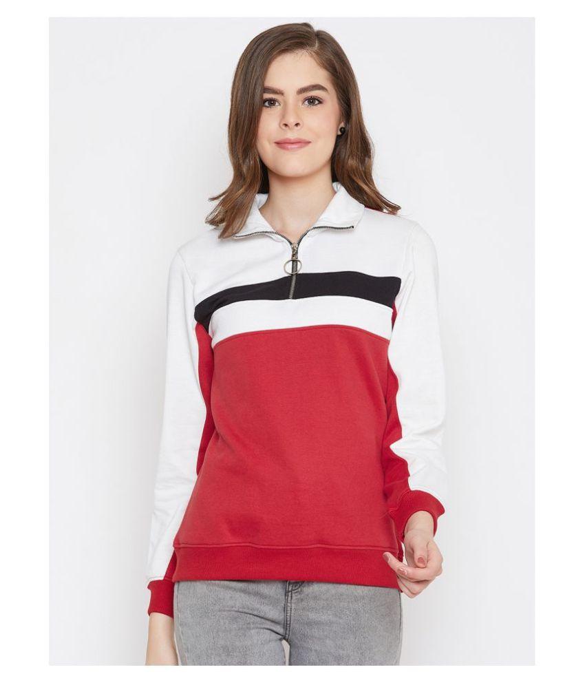 AUSTIN WOOD Poly Cotton Red Zippered Sweatshirt