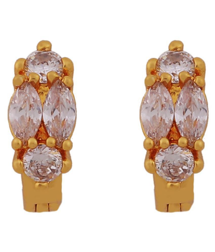 City Girl Traditional Gold Plated Brass Bali Earrings For Girls/Women