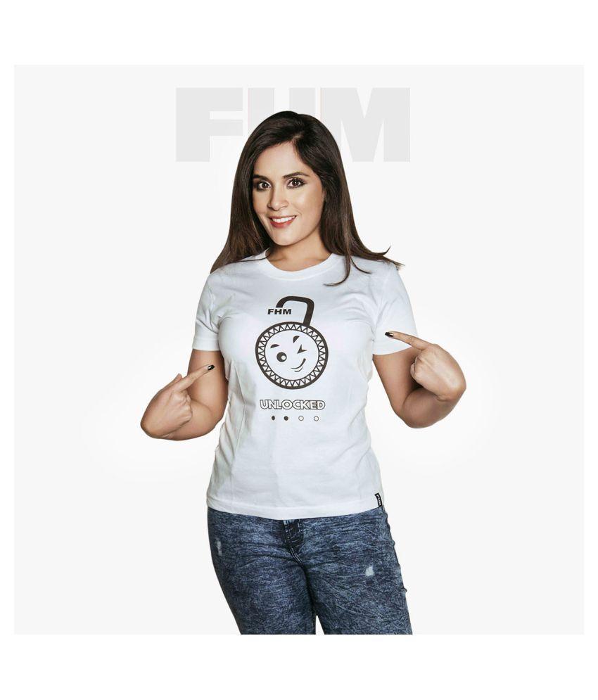 FHM Cotton White T-Shirts