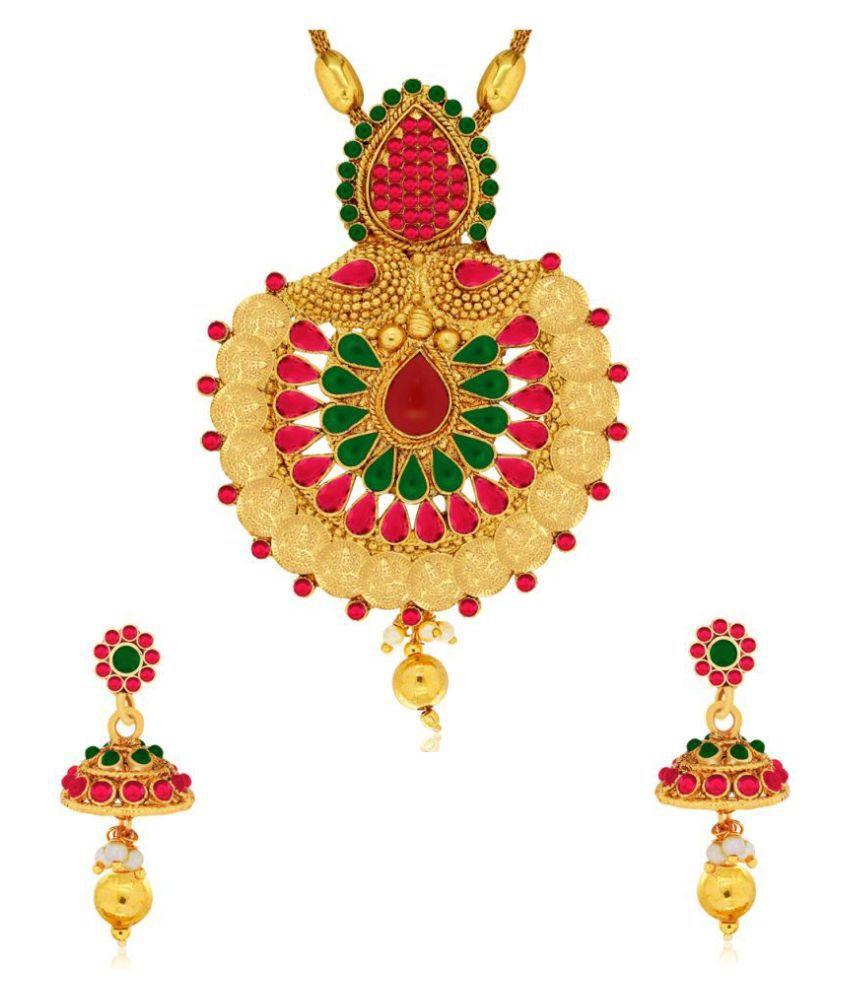 Spargz Laxmi Coin Gold Chain Pendant Set