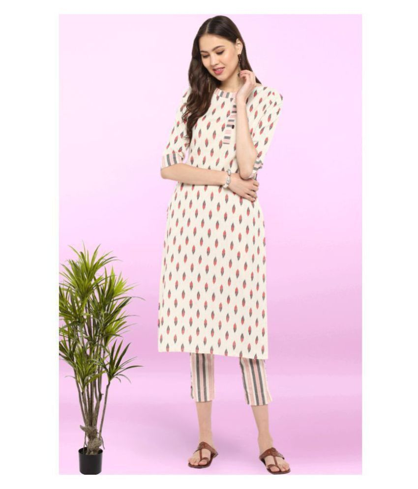 Janasya Cotton Kurti With Pants - Stitched Suit