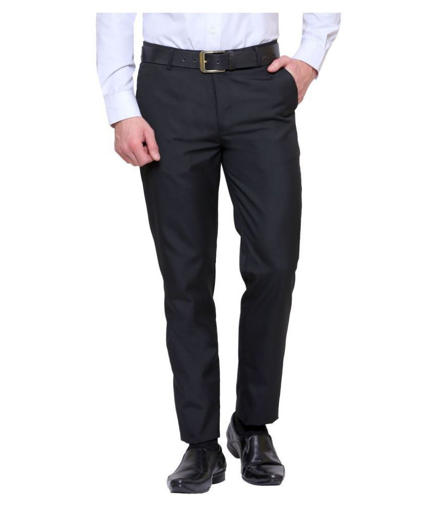 Inspire Clothing Inspiration Black Slim -Fit Flat Trousers