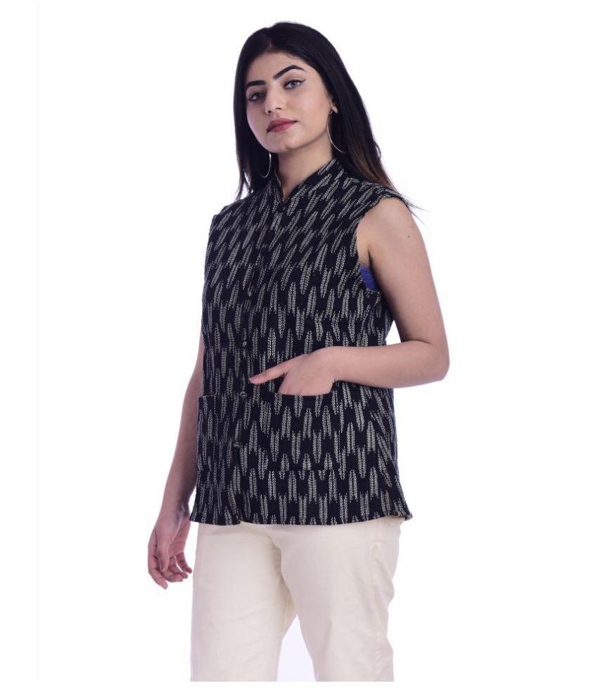 Raj Cotton Black Ethnic Jacket