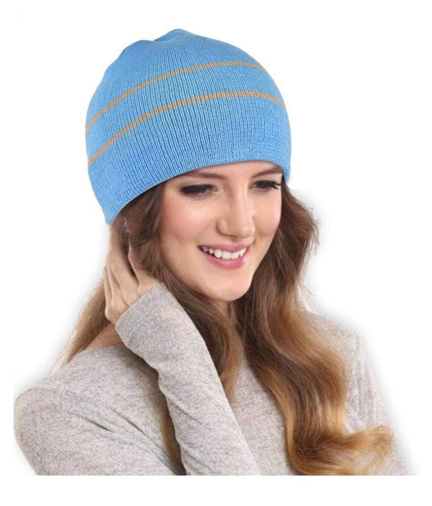 DRUNKEN Women's Winter Cap for Women Winter Cap Blue Winter Woollen Beanie Cap