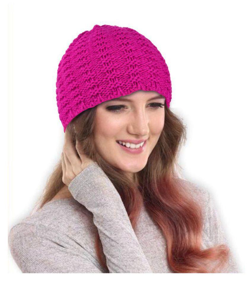 DRUNKEN Women's Winter Caps for Women Beanie Skull Cap Pink Woollen Cap