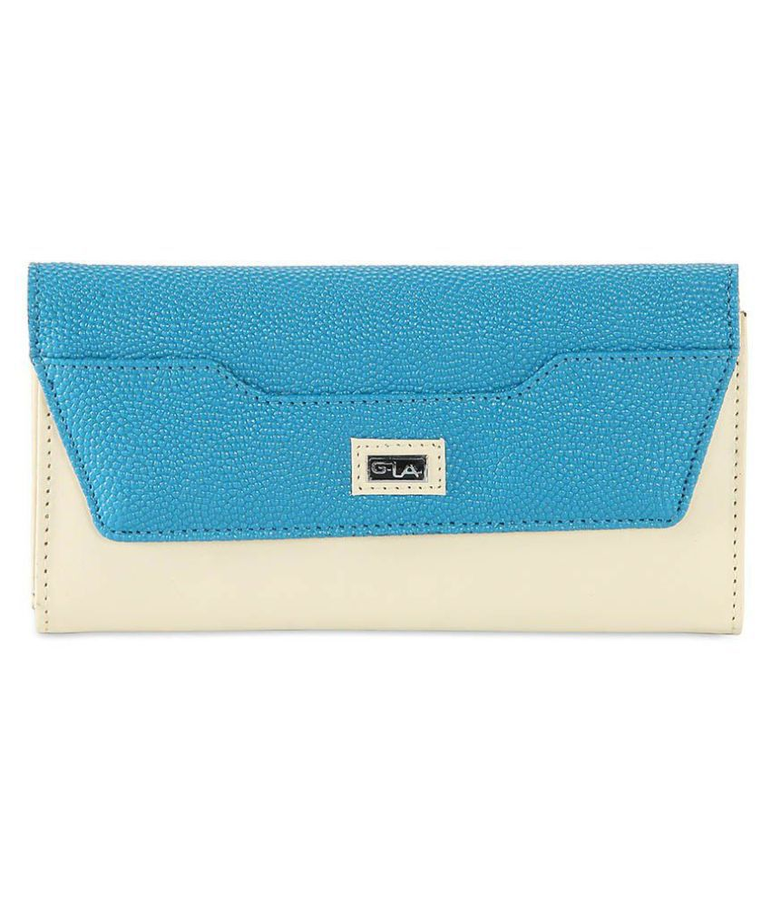 Goodwill Leather Art Blue Faux Leather Box Clutch