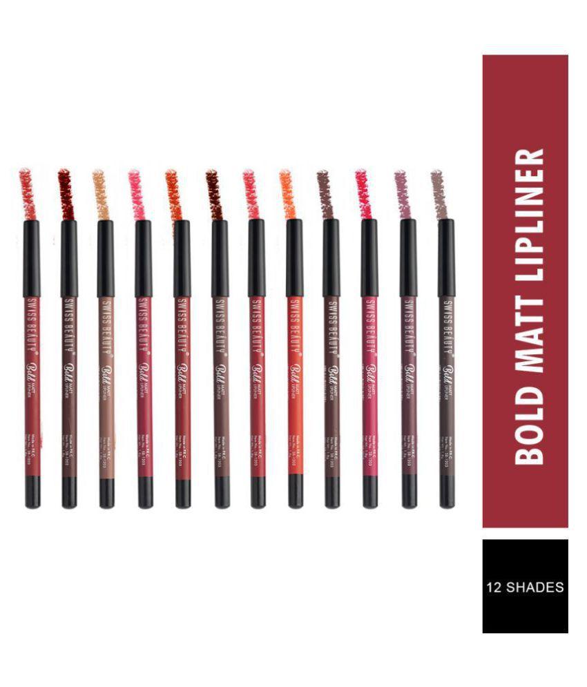 Swiss Beauty Bold Matte Lip Liner Pencils Pack of 12, 1.8gm each