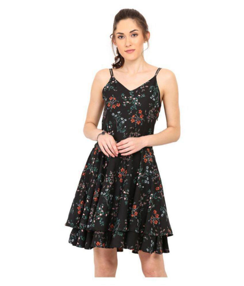 Trend Arrest Polyester Black Regular Dress