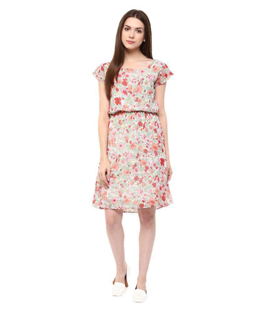 Veronique Crepe Multi Color A- line Dress