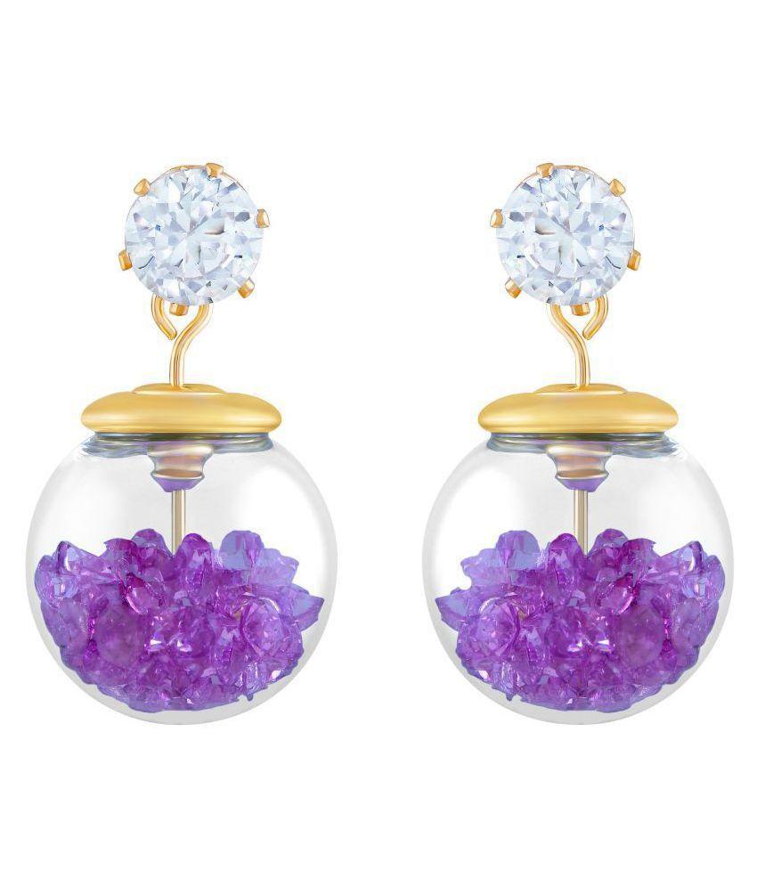 Asmitta Artistically Fancy Glass Gold Plated Dangle Earring For Women