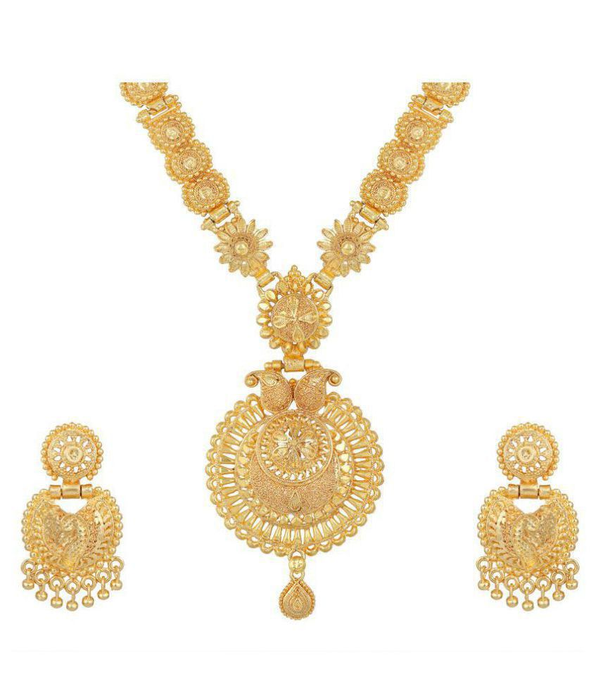 Asmitta Jewellery Alloy Golden Matinee Traditional Gold Plated Necklaces Set