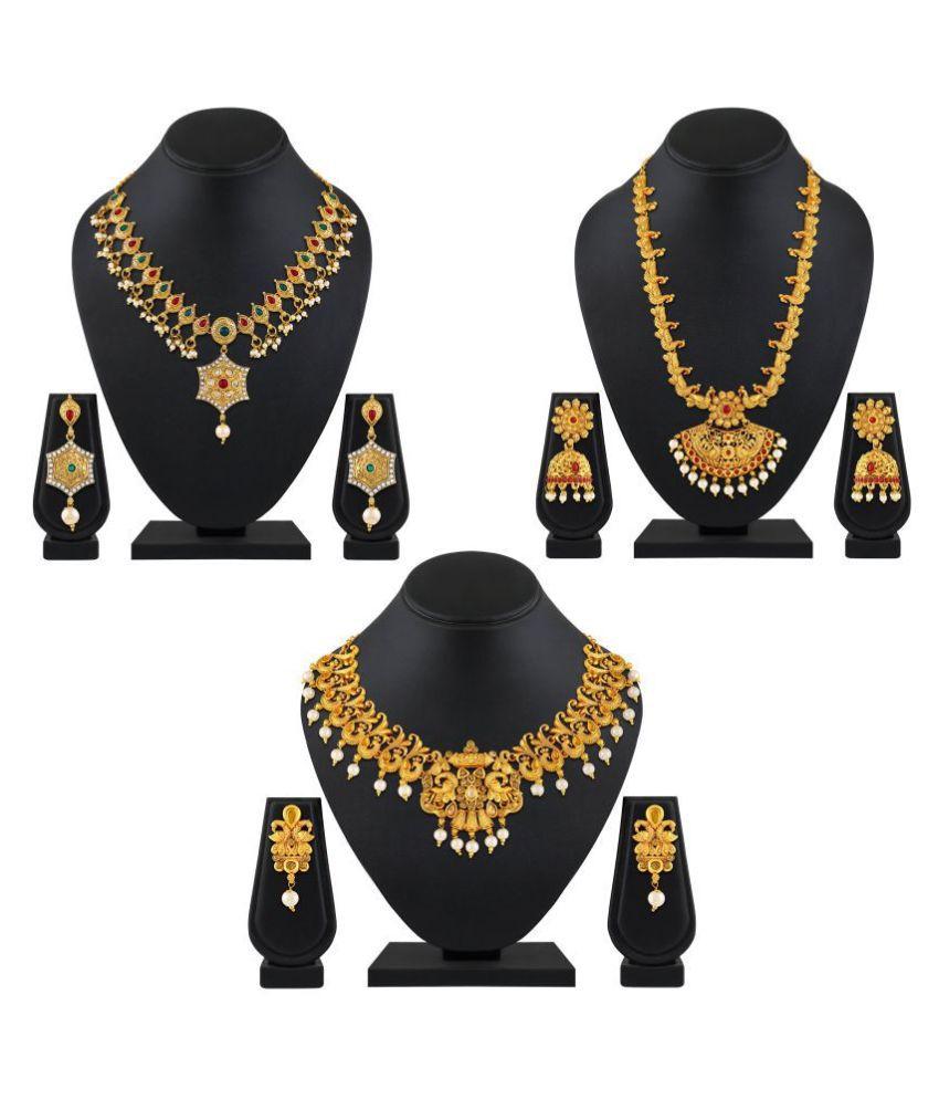 Asmitta Jewellery Zinc Golden Choker Traditional Gold Plated Necklace set Combo