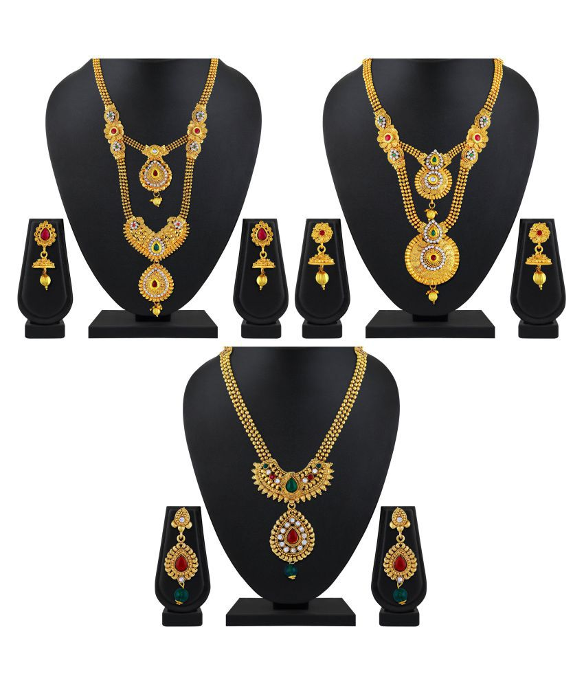 Asmitta Jewellery Zinc Golden Matinee Traditional Gold Plated Necklace set Combo