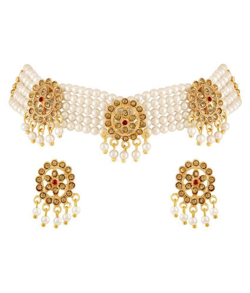 Asmitta Jewellery Zinc Multi Color Choker Designer Gold Plated Necklaces Set