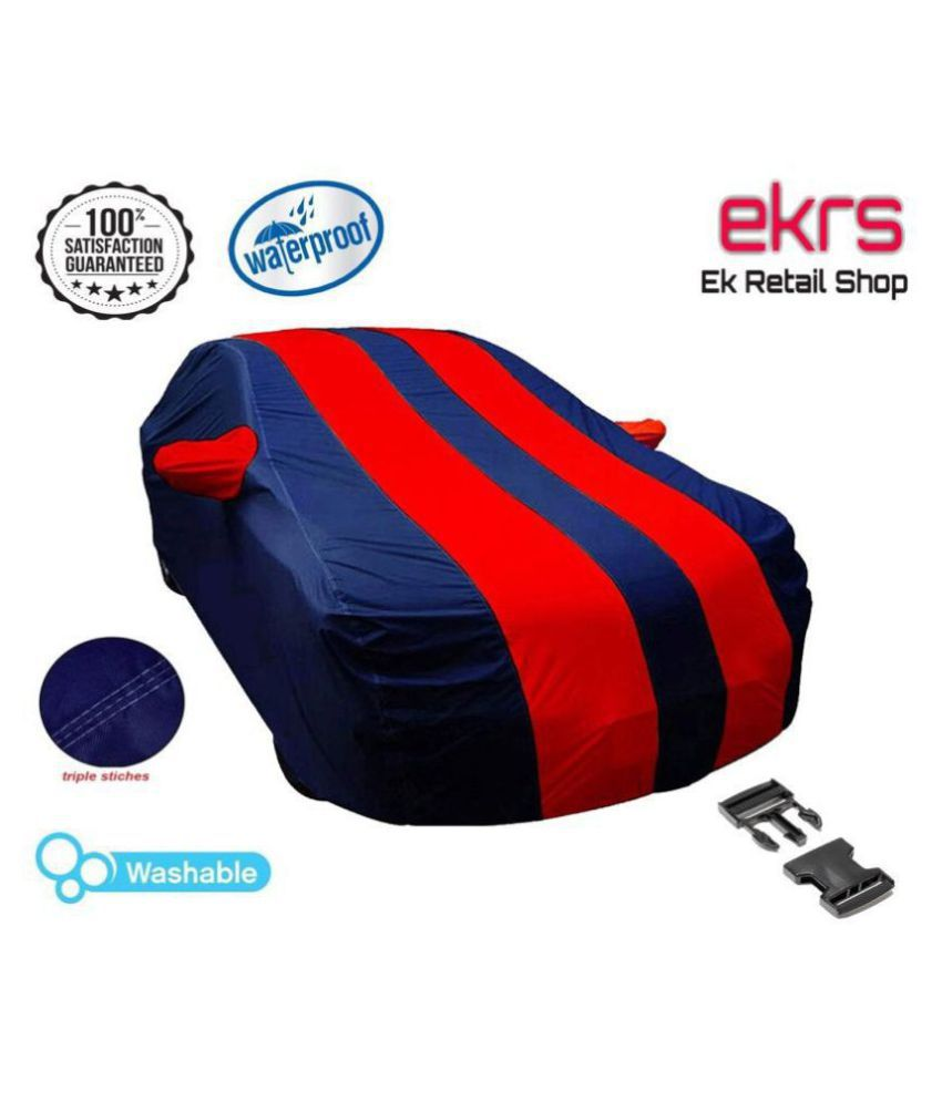 EKRS Dust Proof Car Body Covers For Innova Crysta 2.4 VX 7 STR with Mirror Pockets, Triple Stitching & Light Weight (Navy Blue & RED Color)