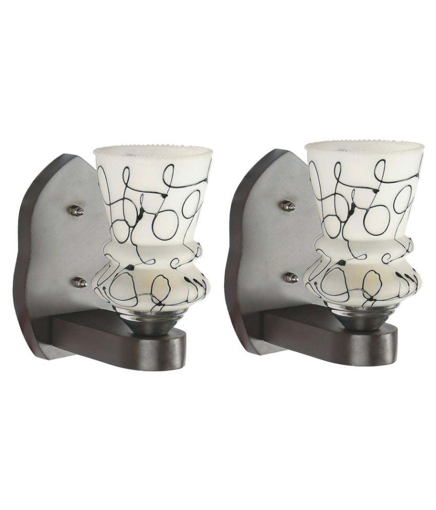 Somil Decorative Wall Lamp Light Glass Wall Light White - Pack of 2