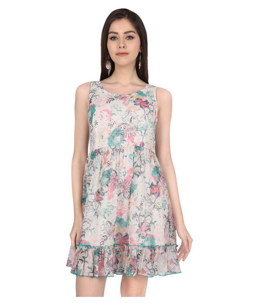 Zinnia Chiffon White Fit And Flare Dress