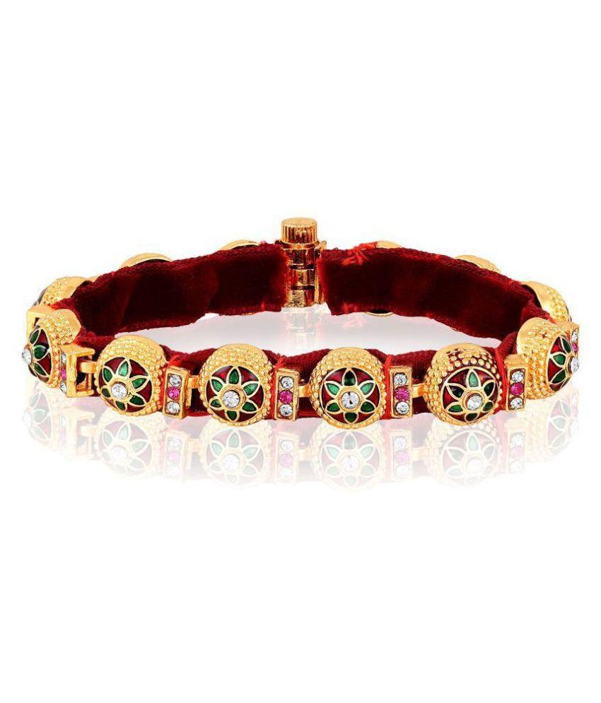 Asmitta Pretty Enamel Work High Gold Plated White Pink Stone Bracelet For Women