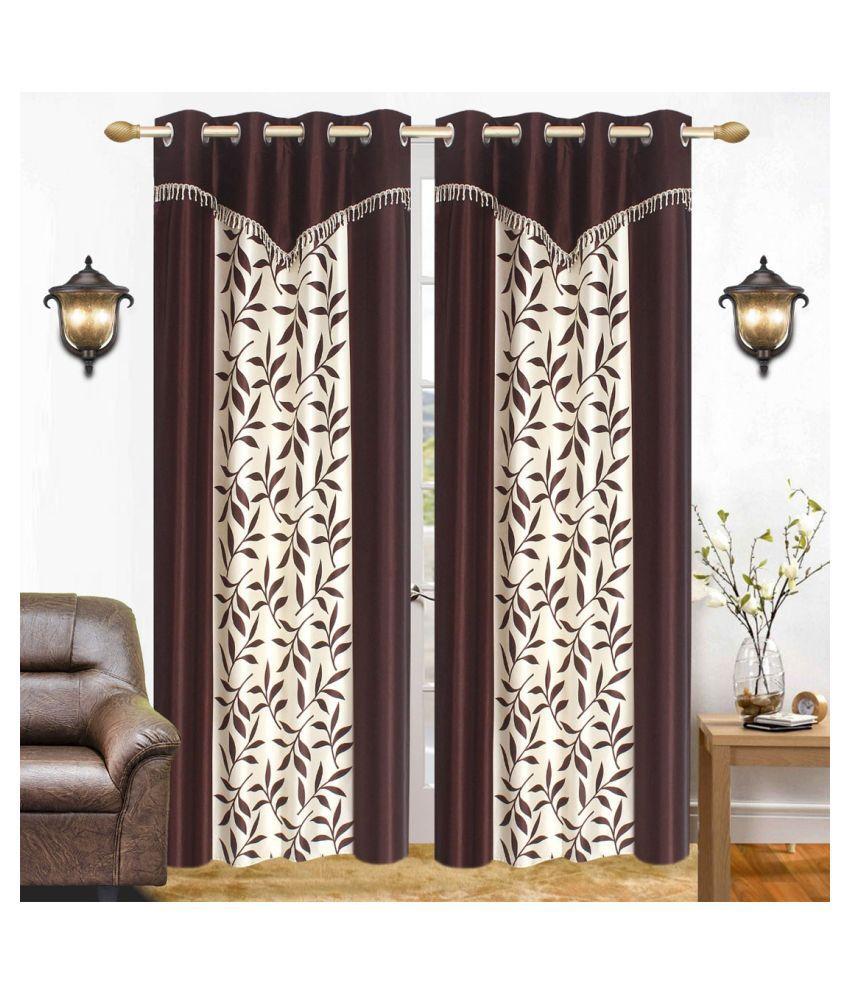 BM Creation Set of 2 Window Semi-Transparent Eyelet Polyester Curtains Coffee