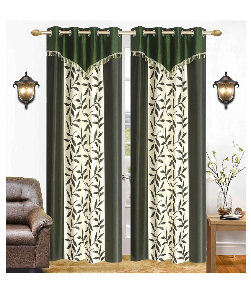 BM Creation Set of 2 Long Door Semi-Transparent Eyelet Polyester Curtains Green