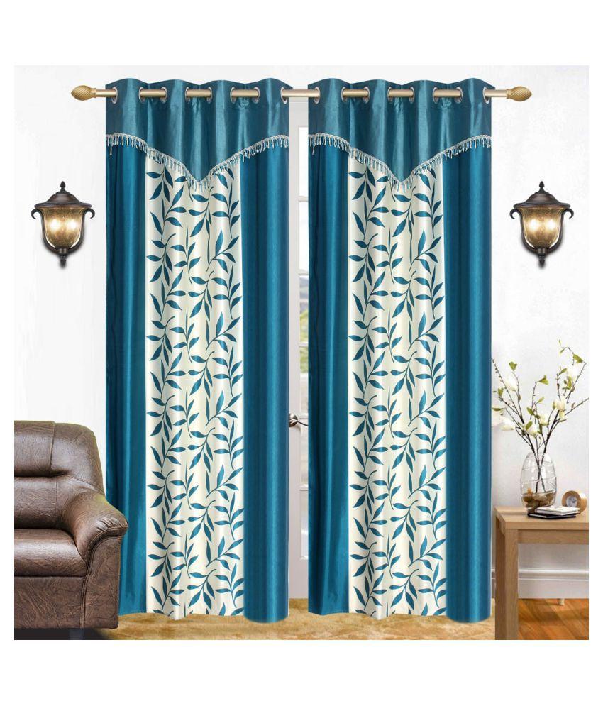BM Creation Set of 2 Window Semi-Transparent Eyelet Polyester Curtains Blue