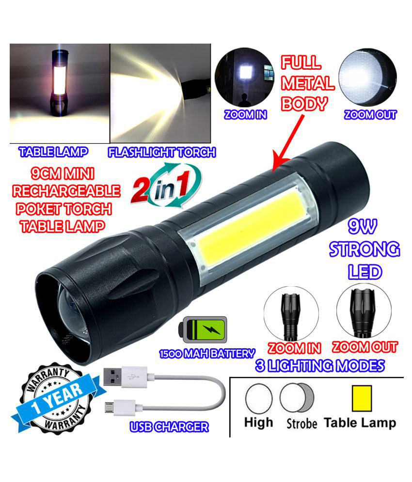 DGM 2in1 Waterproof Rechargeable Zoomable LED 3 Mode COB Table Lamp Metal 9W Flashlight Torch 2IN1 USB MINI 1A - Pack of 1