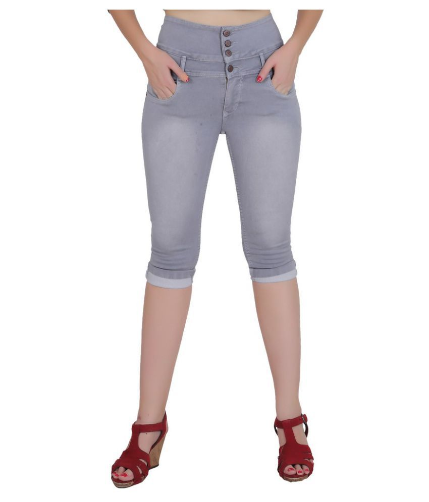 FORTH Grey Cotton Lycra Washed Capri