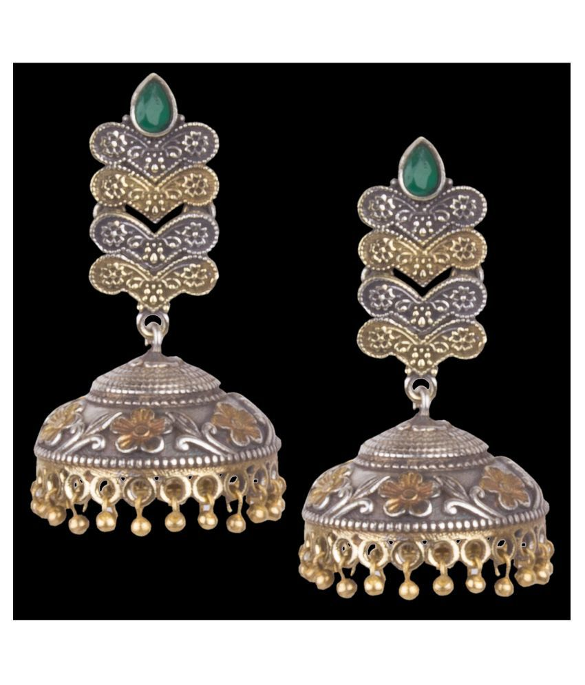 Piah Fashion Graceful Oxidised silver\nGreen Beaded Long Jhumkhi For Women & Girls