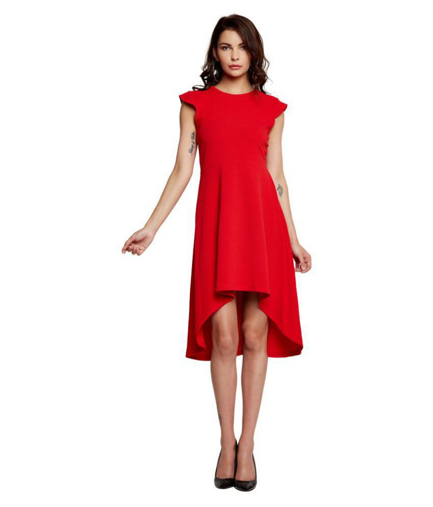 Addyvero Cotton Lycra Red A  line Dress
