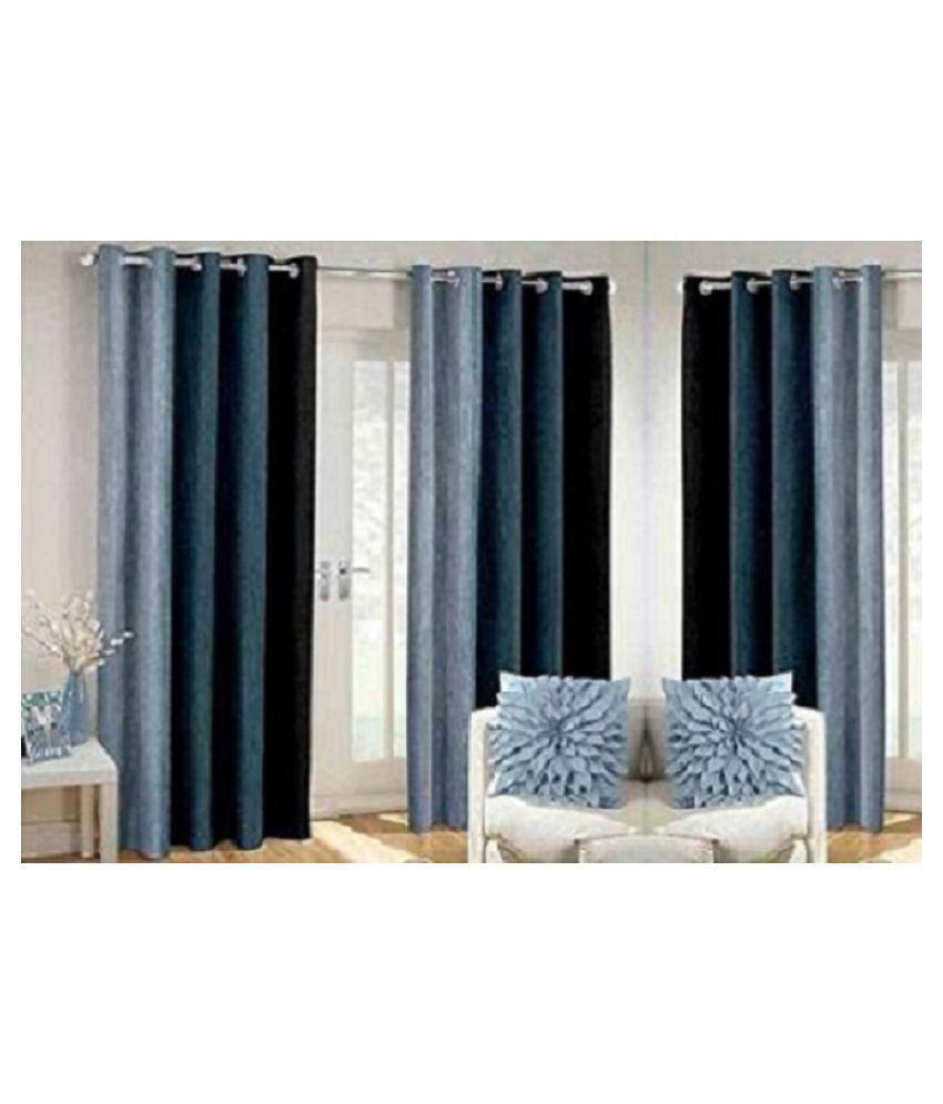 BM Creation Set of 3 Long Door Blackout Room Darkening Eyelet Polyester Curtains Black