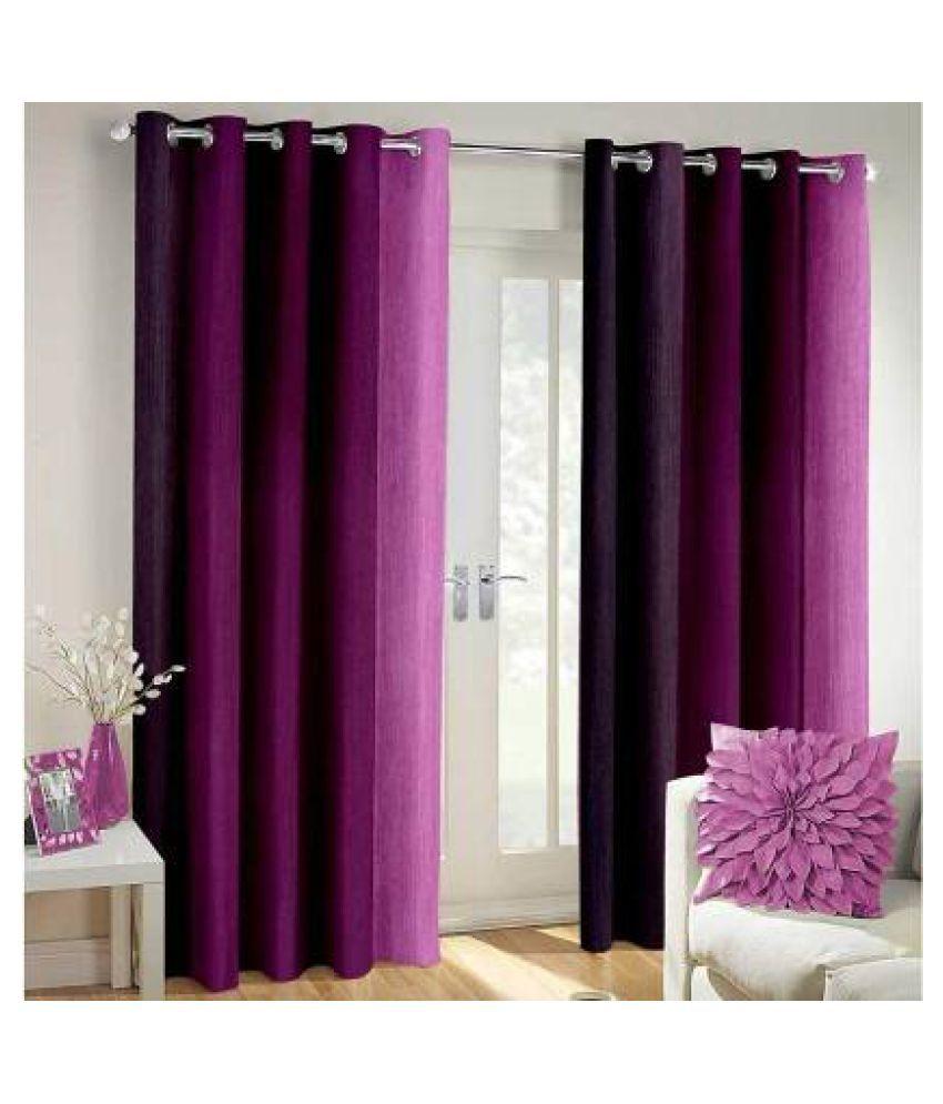 BM Creation Single Window Blackout Room Darkening Eyelet Polyester Curtains Purple