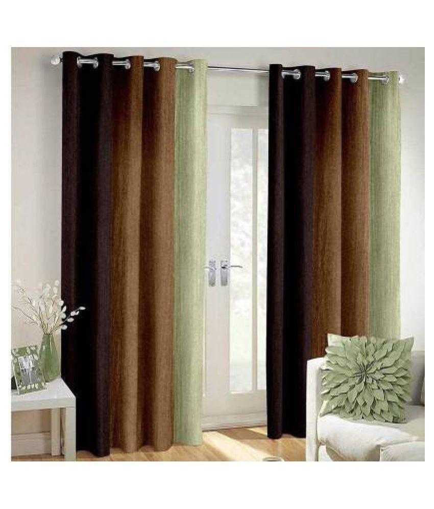 BM Creation Set of 2 Door Blackout Room Darkening Eyelet Polyester Curtains Brown