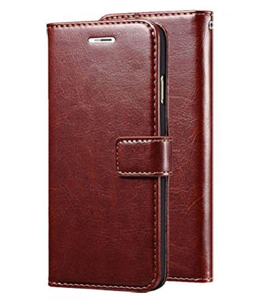 Samsung Galaxy J7 Max Flip Cover by Doyen Creations - Brown Original Vintage Look Leather Wallet Case