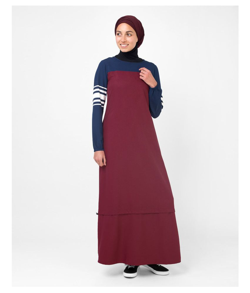 Silk Route London Red Polyester Stitched Burqas without Hijab