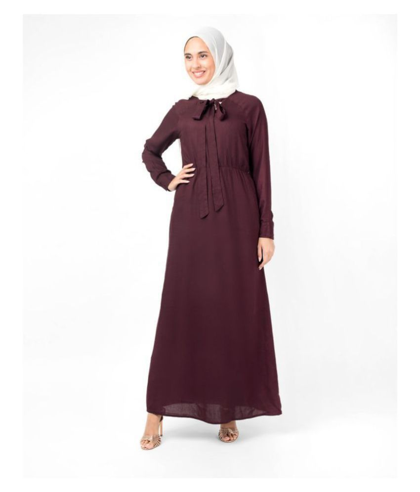 Silk Route London Red Viscose Stitched Burqas without Hijab