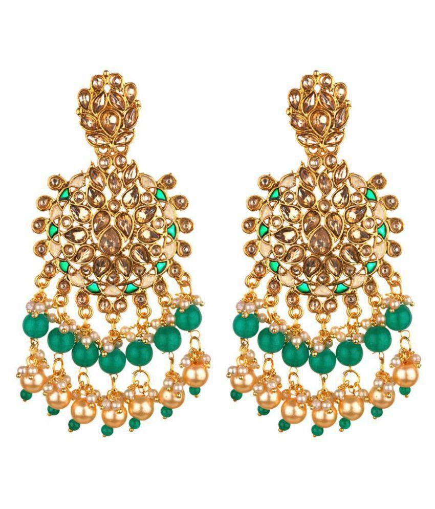 Archi Collection Fashion Jewellery Stylish Kundan Wedding Bridal Fancy Party Wear Pearl Meenakari Chandelier Earring Set