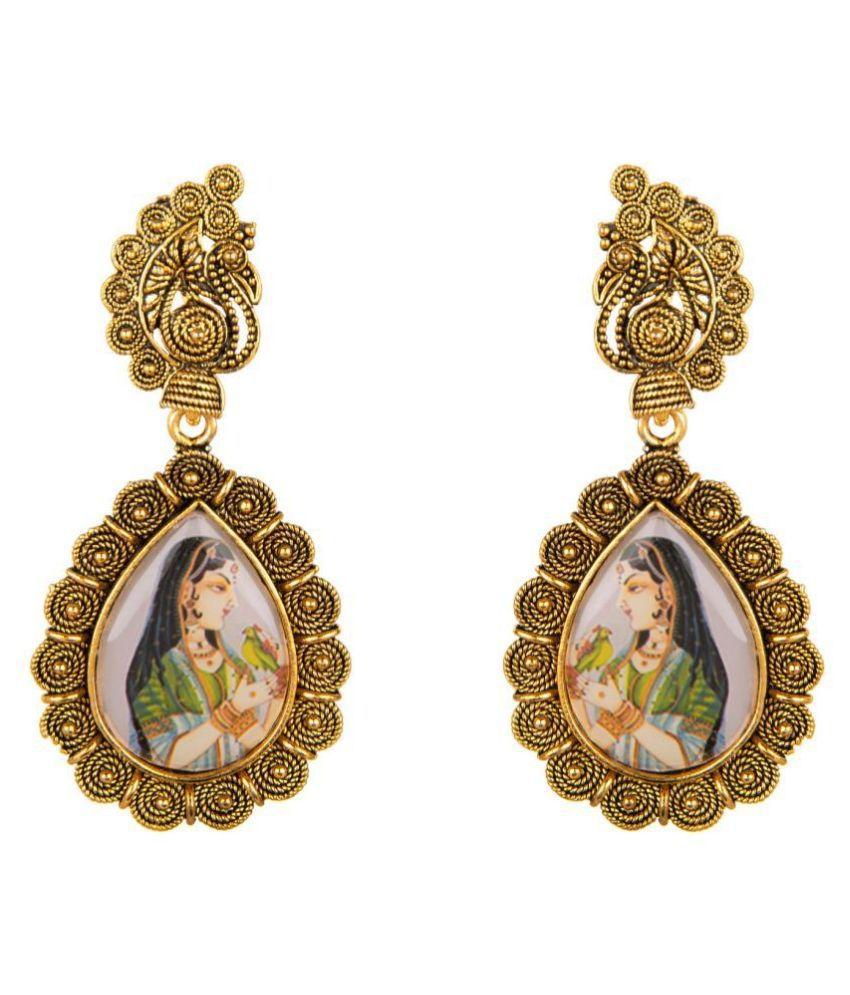 Archi Collection Fashion Jewellery Stylish Fancy Party Wear Antique Boho Vintage Oxidised Gold Enamel Dabgle Earrings Set