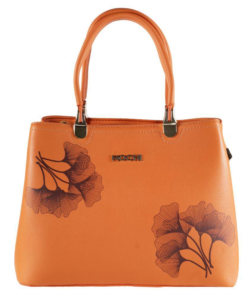 Mochi ORANGE Faux Leather Shoulder Bag