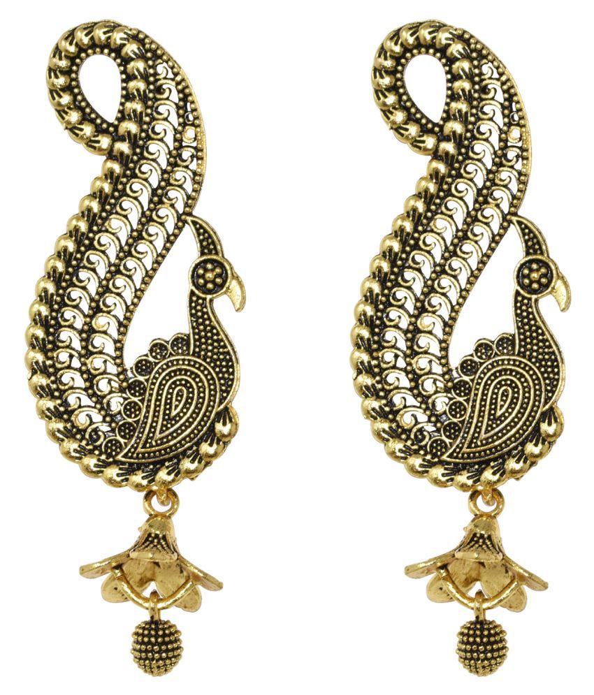 Steorra Jewels Traditional Indian Ethnic Bollywood Peacock Style Golden Hanging Jhumki Earring