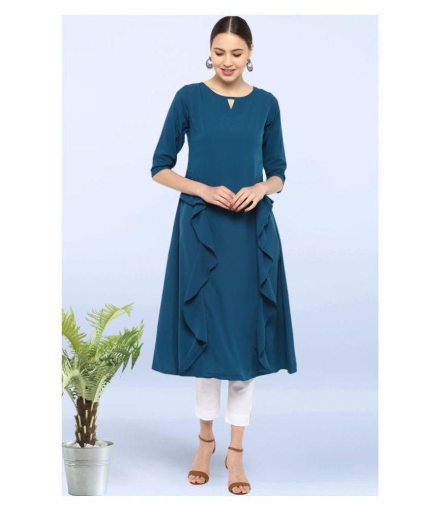 Janasya Turquoise Crepe A-line Kurti