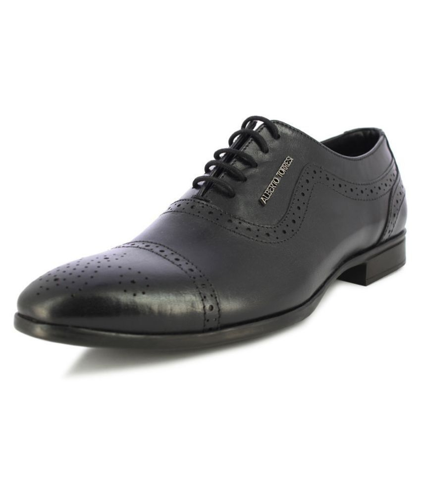 Alberto Torresi Party Genuine Leather Black Formal Shoes