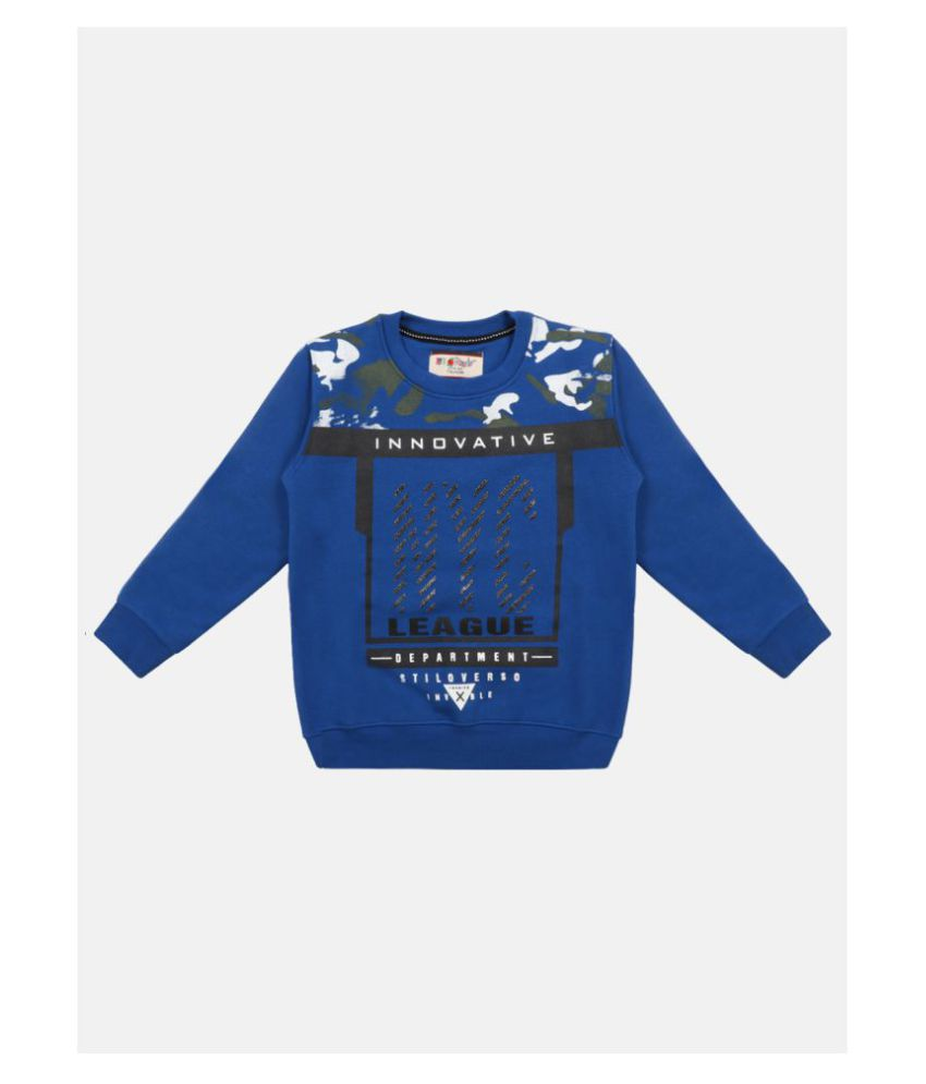 Li'l Tomatoes Boys Blue & Black Printed Full Sleeve Sweatshirt
