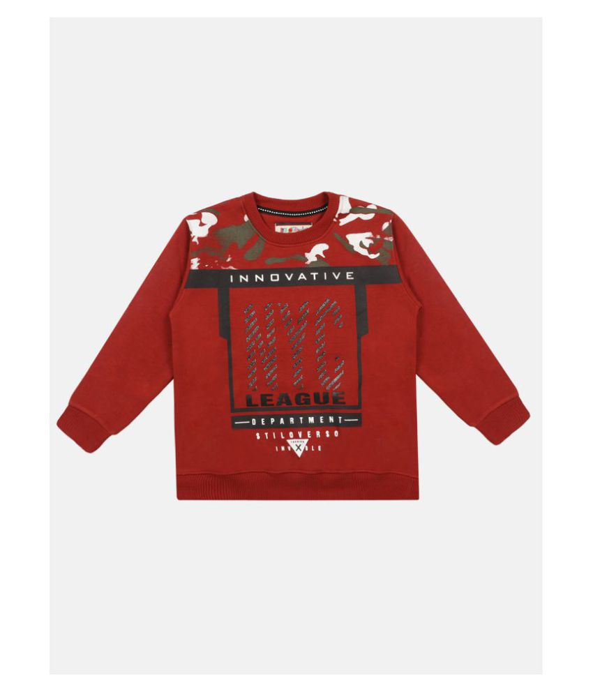 Li'l Tomatoes Boys Red & Black Printed Full Sleeve Sweatshirt\n